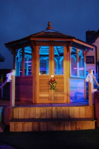 Colour-changing LED lighting inside the gazebo